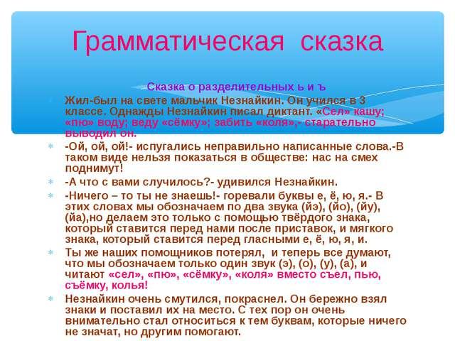 Сказка о разделительных ь и ъ Жил-был на свете мальчик Незнайкин. Он учился в...