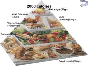 Fat, sugar(50gr) Dairy products(620gr) Meat, fish, eggs (180gr) Vegetables, F