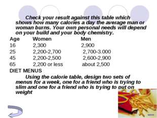Check your result against this table which shows how many calories a day t