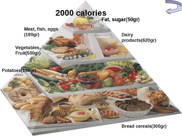 Fat, sugar(50gr) Dairy products(620gr) Meat, fish, eggs (180gr) Vegetables, F...
