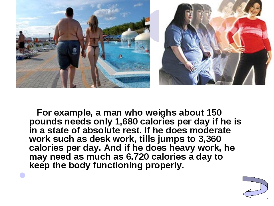 For example, a man who weighs about 150 pounds needs only 1,680 calories pe...