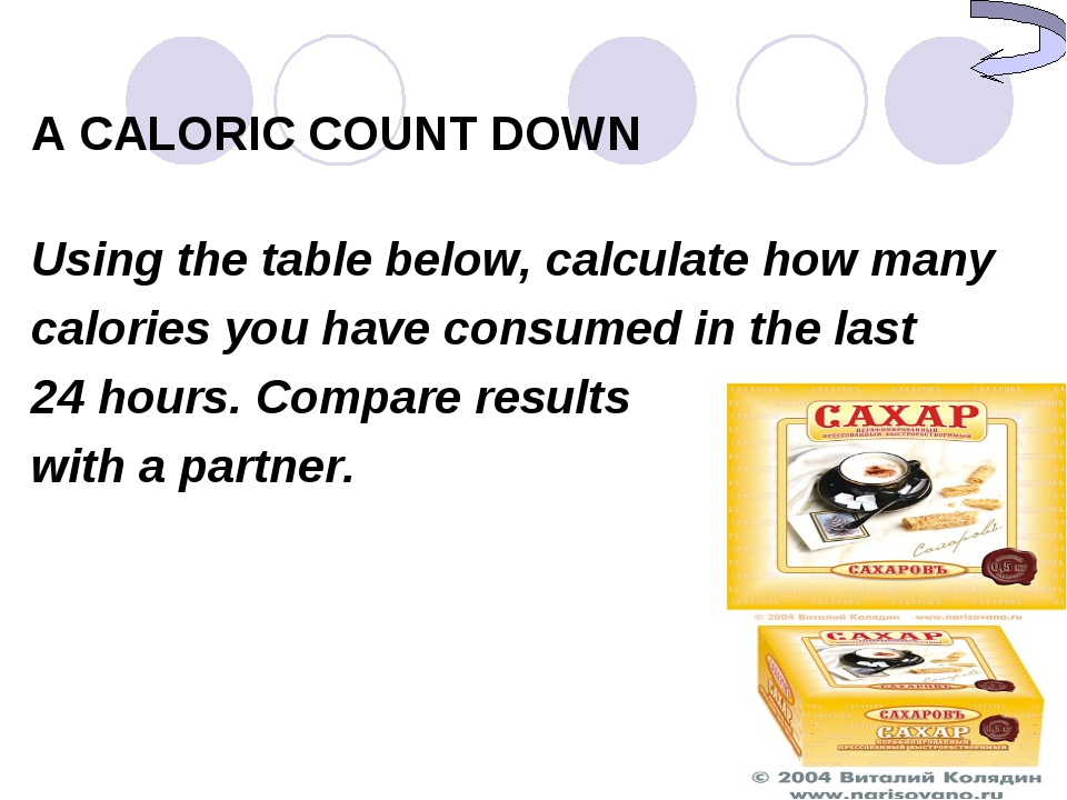 A CALORIC COUNT DOWN Using the table below, calculate how many calories you h...