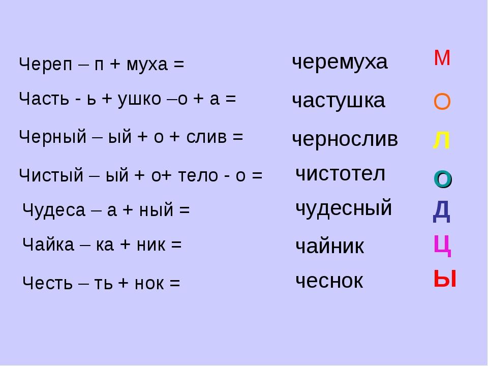 Череп – п + муха = черемуха М Часть - ь + ушко –о + а = частушка О Черный – ы...