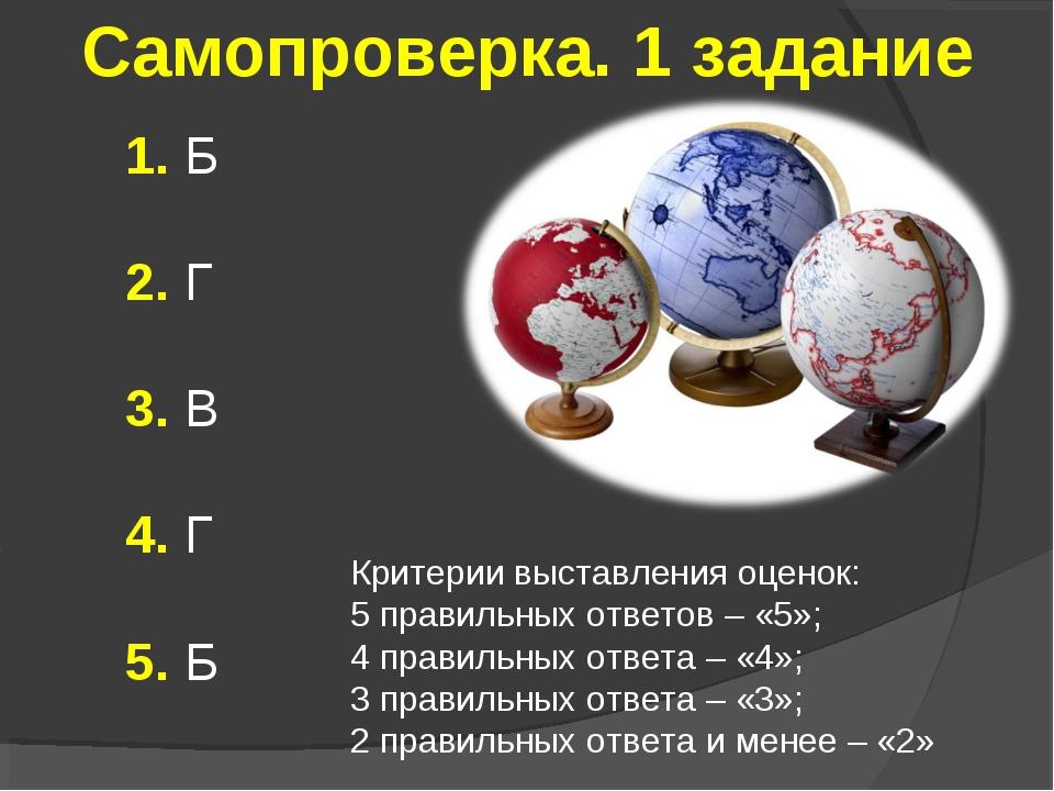 Самопроверка. 1 задание 1. Б 2. Г 3. В 4. Г 5. Б Критерии выставления оценок:...