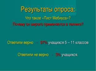 Результаты опроса: Что такое «Лист Мебиуса»? Почему он широко применяется в т