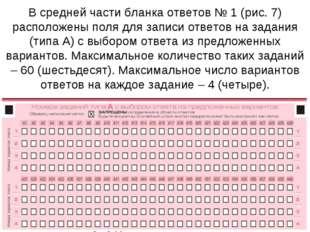 В средней части бланка ответов № 1 (рис. 7) расположены поля для записи ответ