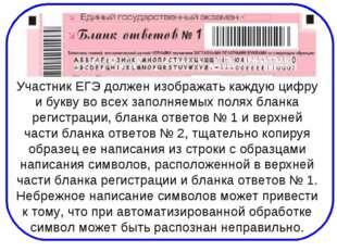 Участник ЕГЭ должен изображать каждую цифру и букву во всех заполняемых полях