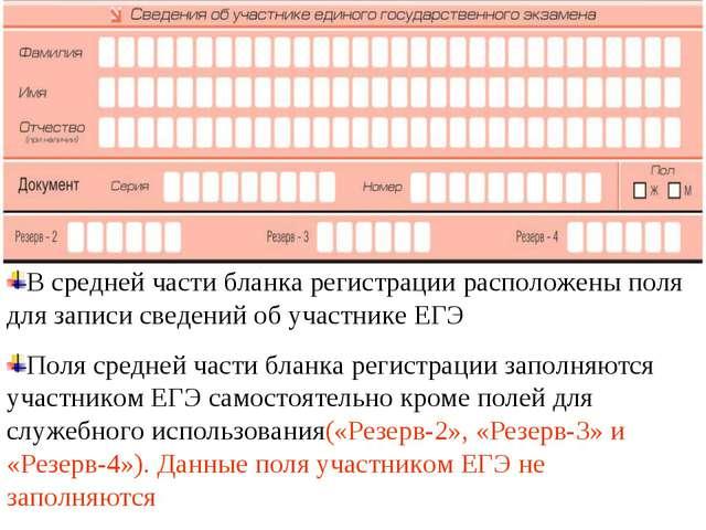 В средней части бланка регистрации расположены поля для записи сведений об уч...