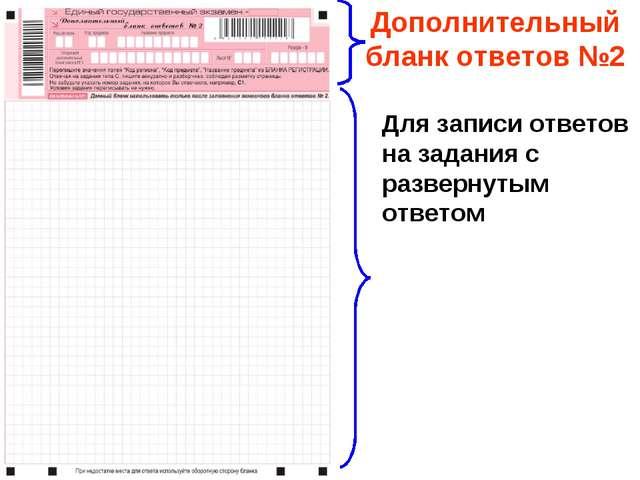 Дополнительный бланк ответов №2 Для записи ответов на задания с развернутым о...