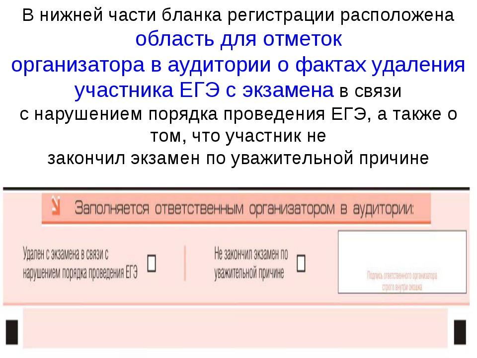В нижней части бланка регистрации расположена область для отметок организатор...