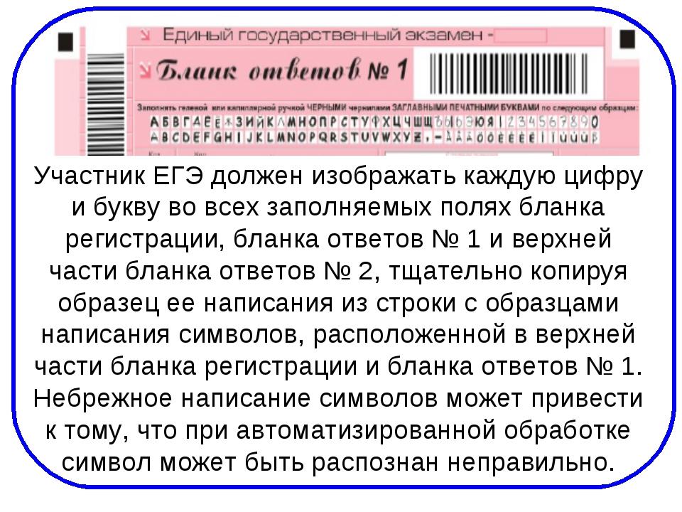 Участник ЕГЭ должен изображать каждую цифру и букву во всех заполняемых полях...