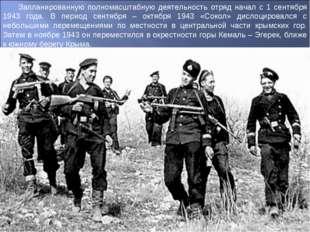Запланированную полномасштабную деятельность отряд начал с 1 сентября 1943 го