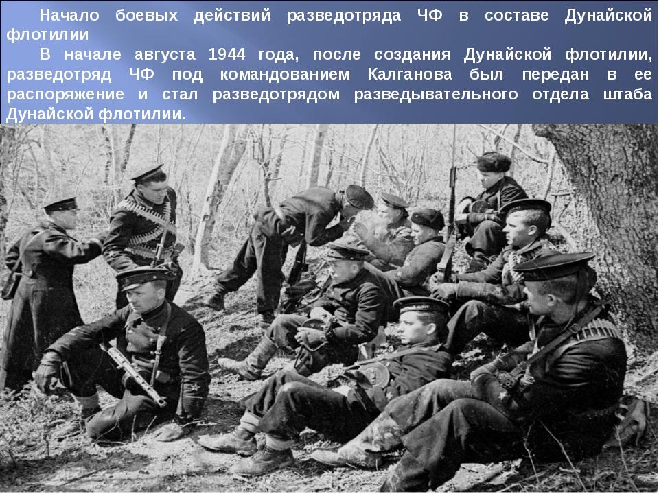Начало боевых действий разведотряда ЧФ в составе Дунайской флотилии В начале...