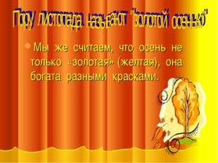 Мы же считаем, что осень не только «золотая» (желтая), она богата разными кра