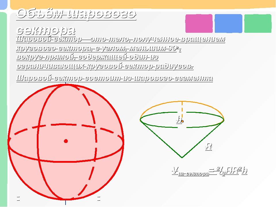 Объём шарового сектора Шаровой сектор – это тело, полученное вращением кругов...