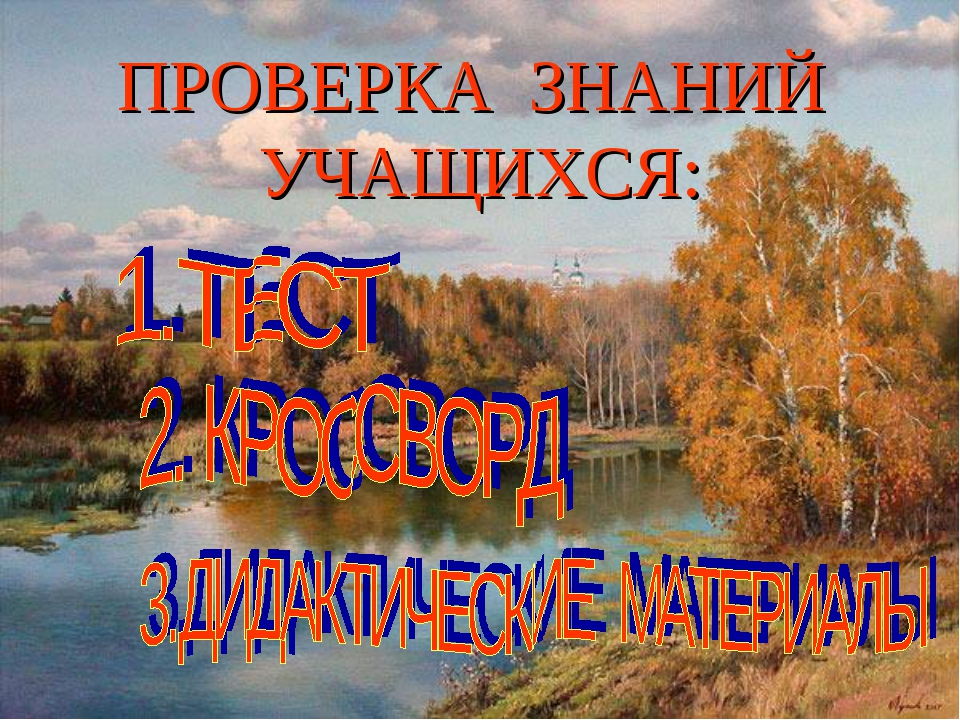 ПРОВЕРКА ЗНАНИЙ УЧАЩИХСЯ: