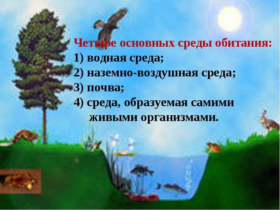 Четыре основных среды обитания: 1) водная среда; 2) наземно-воздушная среда;...