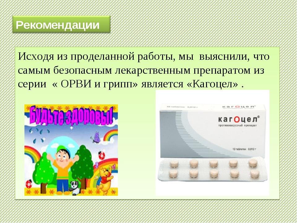 Исходя из проделанной работы, мы выяснили, что самым безопасным лекарственным...