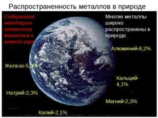 Распространенность металлов в природе Многие металлы широко распространены в