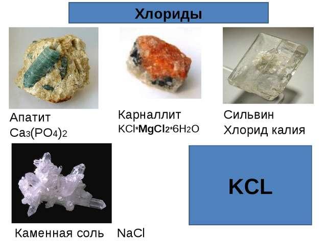 KCL Хлориды Каменная соль NaCl Карналлит KCl*MgCl2*6H2O Апатит Ca3(PO4)2 Силь...