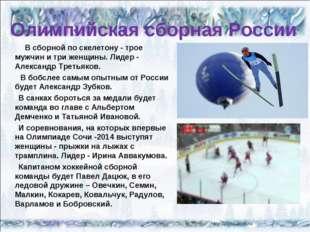 Олимпийская сборная России В сборной по скелетону - трое мужчин и три женщины