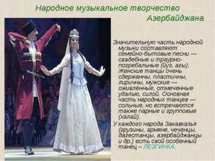Народное музыкальное творчество Азербайджана Значительную часть народной муз