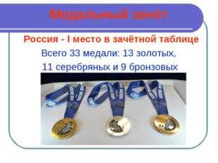 Медальный зачёт Россия - I место в зачётной таблице Всего 33 медали: 13 золот
