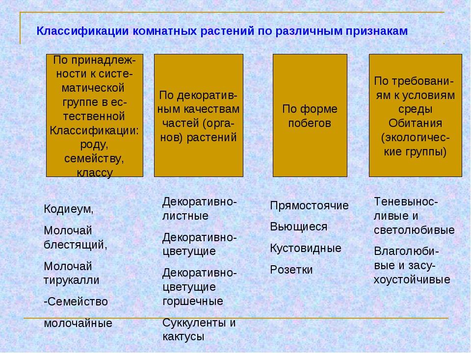 Классификации комнатных растений по различным признакам По принадлеж- ности к...