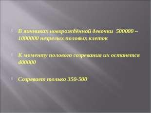 В яичниках новорождённой девочки 500000 – 1000000 незрелых половых клеток К м