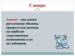 Словарь Анализ – мысленное расчленение объекта, процесса или явления на наибо