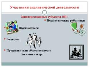 Участники аналитической деятельности Заинтересованные субъекты ОП: Педагогиче