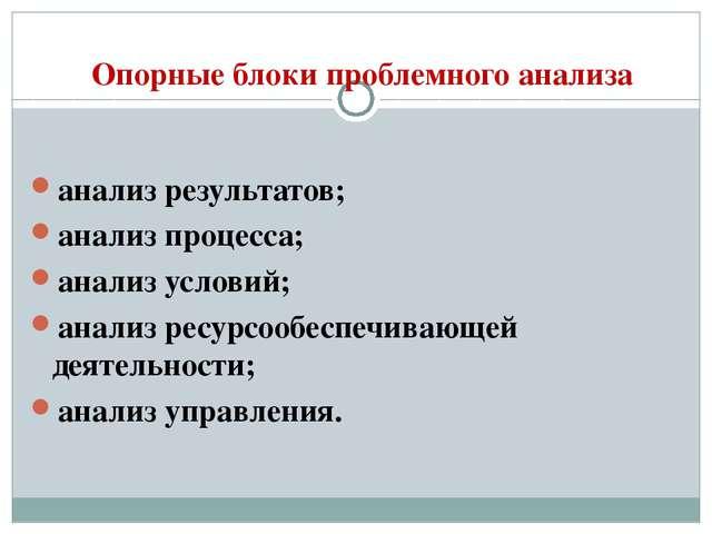 Опорные блоки проблемного анализа анализ результатов; анализ процесса; анализ...