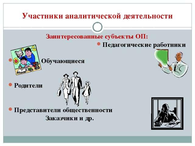 Участники аналитической деятельности Заинтересованные субъекты ОП: Педагогиче...