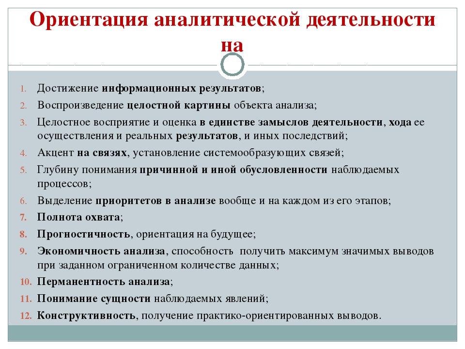 Ориентация аналитической деятельности на Достижение информационных результато...