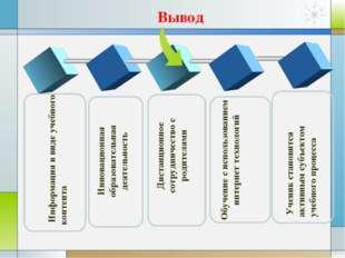 Информация в виде учебного контента Инновационная образовательная деятельнос