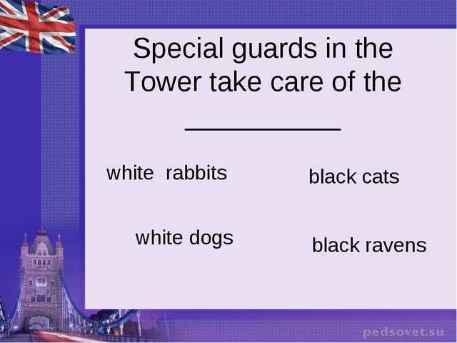 Special guards in the Tower take care of the __________ white rabbits black...