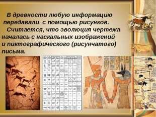 В древности любую информацию передавали с помощью рисунков. Считается, что э