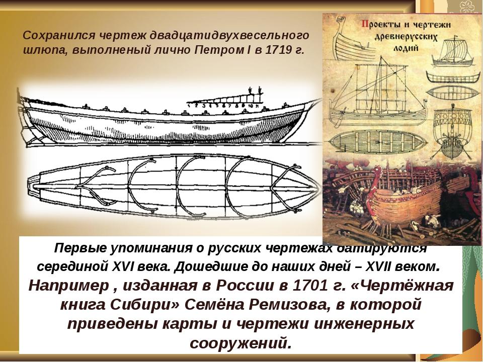 Первые упоминания о русских чертежах датируются серединой XVI века. Дошедшие...