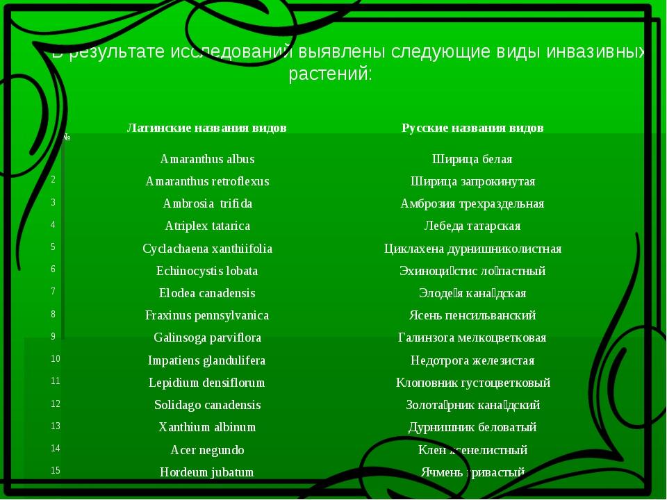 В результате исследований выявлены следующие виды инвазивных растений:  №Л...