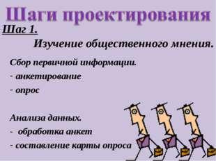 Шаг 1. Изучение общественного мнения. Сбор первичной информации. анкетировани