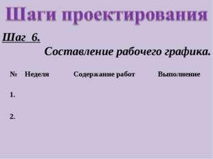Шаг 6. Составление рабочего графика. №НеделяСодержание работВыполнение 1.