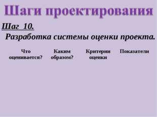 Шаг 10. Разработка системы оценки проекта. Что оценивается?Каким образом?Кр