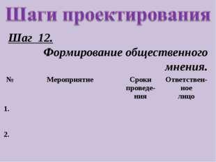 Шаг 12. Формирование общественного мнения. №МероприятиеСроки проведе-нияОт