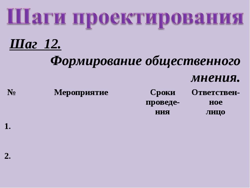Шаг 12. Формирование общественного мнения. №МероприятиеСроки проведе-нияОт...