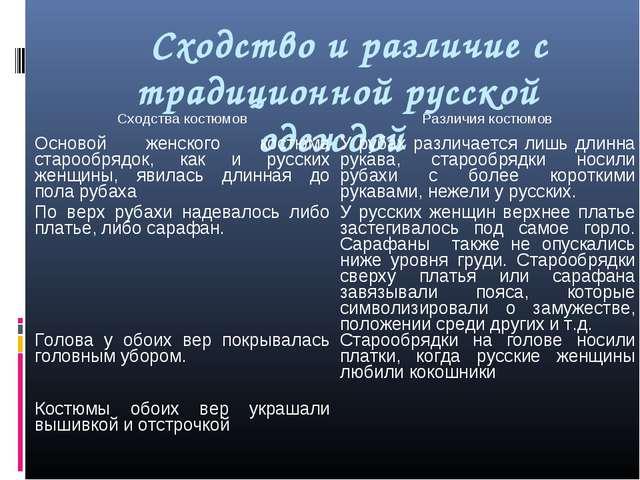 Сходство и различие с традиционной русской одеждой Сходства костюмовРазличи...