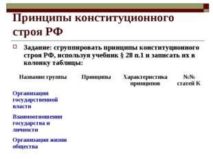 Принципы конституционного строя РФ Задание: сгруппировать принципы конституци