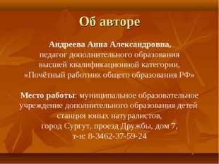 Об авторе Андреева Анна Александровна, педагог дополнительного образования вы