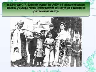 В 1904 году С. А. Есенина отдают на учёбу в Константиновское земское училище