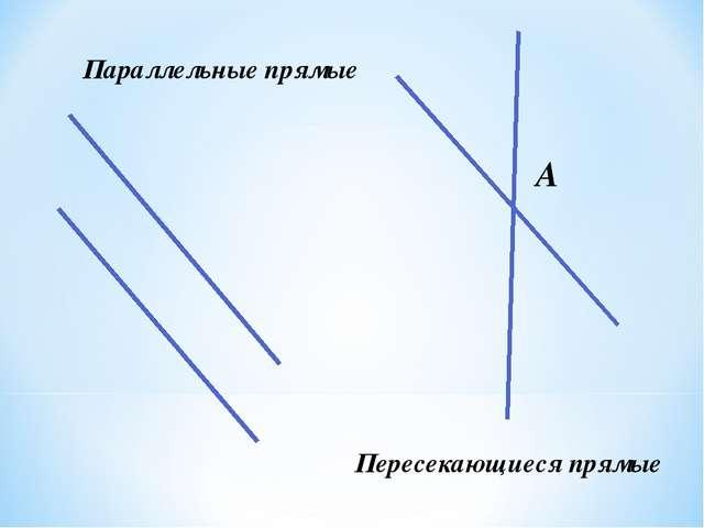 Параллельные прямые Пересекающиеся прямые А