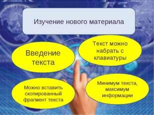 Изучение нового материала Введение текста Текст можно набрать с клавиатуры Ми